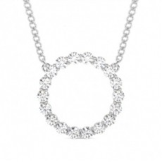 4 Prong Setting Round Diamond Circle Pendant
