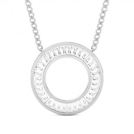 2 Prong Setting Round Diamond Circle Pendant