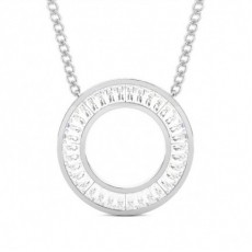 Channel Setting Baguette Diamond Circle Pendant
