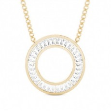 Baguette Yellow Gold Circle Pendants
