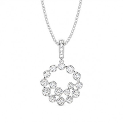 4 Prong Setting Round Diamond Cluster Pendant