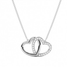 Pave Setting Round Diamond Heart Pendant