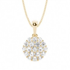 Round Yellow Gold Cluster Pendants