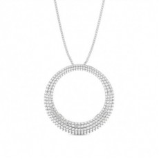 Pave Setting Round Diamond Circle Pendant