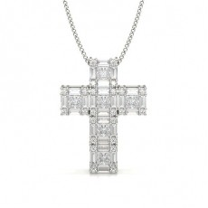 Round Platinum Cross Diamond Pendants