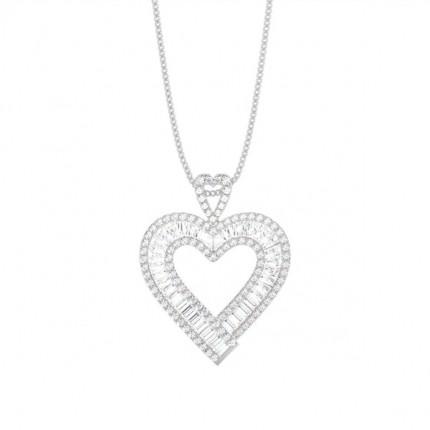 4 Prong Setting Baguette Diamond Pendant