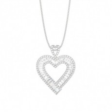 Channel Setting Round and Baguette Diamond Heart Pendant