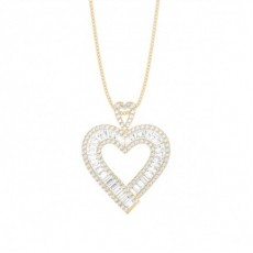 Baguette Yellow Gold Heart Pendants