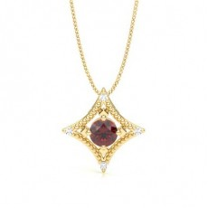 Round Yellow Gold Gemstone Pendants