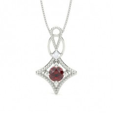 Princess White Gold Gemstone Pendants