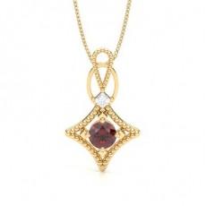Princess Yellow Gold Gemstone Pendants