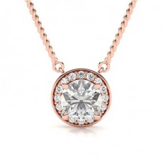 Round Rose Gold Halo Pendants