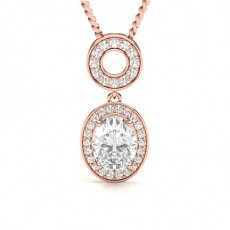 Oval Rose Gold Halo Pendants