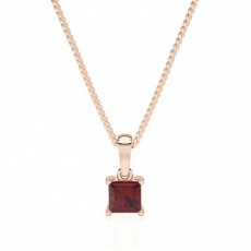Princess Rose Gold Solitaire Pendants