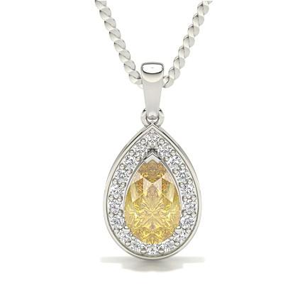 3 Prong Yellow Diamond Halo Pendant