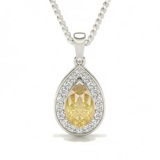 3 Prong Yellow Diamond Halo Pendant
