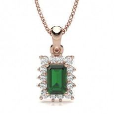 Emerald Rose Gold Gemstone Pendants