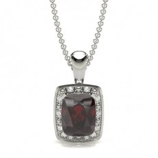 Cushion Silver Gemstone Pendants