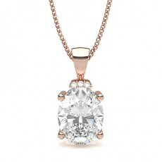 Oval Rose Gold Solitaire Pendants