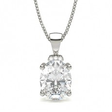 Oval Platinum Solitaire Pendants