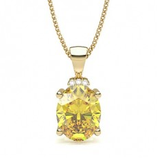 Oval Yellow Gold Solitaire Pendants