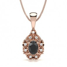 Oval Rose Gold Black Diamond Pendants