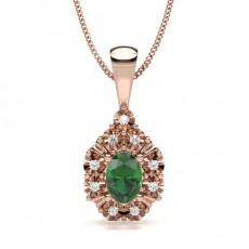 Oval Rose Gold Gemstone Pendants