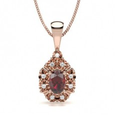 Oval Rose Gold Gemstone Pendants