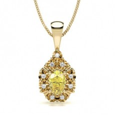 Oval Yellow Gold Yellow Diamond Pendants