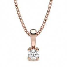 Cushion Rose Gold Solitaire Pendants