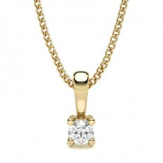 Cushion Yellow Gold Solitaire Pendant
