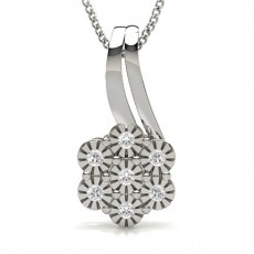Round Silver Cluster Pendants