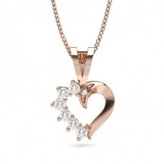 Round Rose Gold Heart Pendants