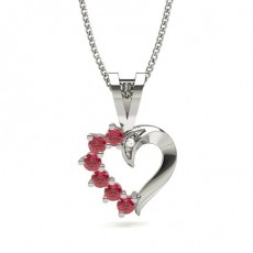 Prong Setting Ruby Heart Pendant