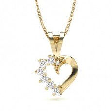 Yellow Gold Heart Diamond Pendants