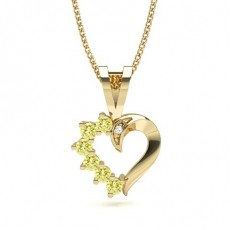 Round Yellow Gold Yellow Diamond Pendants