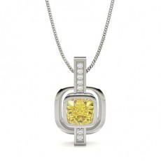 Cushion Silver Yellow Diamond Pendants