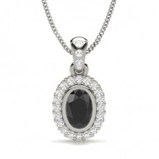 Oval Silver Black Diamond Pendants