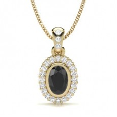 Oval Yellow Gold Black Diamond Pendants