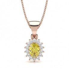 Oval Rose Gold Yellow Diamond Pendants
