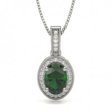 4 Prong Setting Emerald Solitaire Pendant