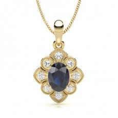 Oval Yellow Gold Gemstone Pendants