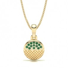 Round Yellow Gold Gemstone Pendants