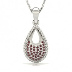 Round White Gold Gemstone Pendants