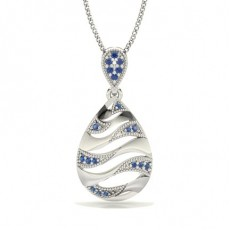 Pave Setting Blue Sapphire Designer Pendant