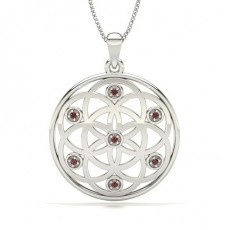 Round Silver Gemstone Pendants