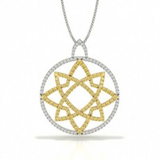 Yellow Diamond Circle Designer Pendant