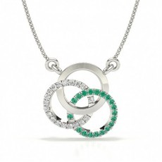 Emerald Prong Setting Circle Pendant