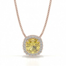 Cushion Rose Gold Yellow Diamond Pendants