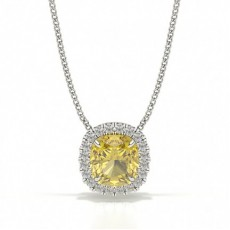 4 Prong Yellow Diamond Halo Pendant